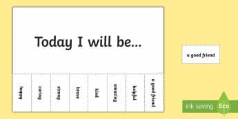 Today I Will Be... Positivity Tokens - kindness, today i will be, pshe, good friend, helpful, amazing, kind, brave, strong, caring, happy,
