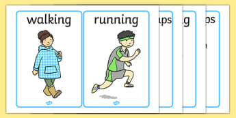 Verb Picture Cards -  PE, action, actions, physical actions, flashcard, moves, visual aid, Physical education, prompt, PE equipment, posters, signs, display