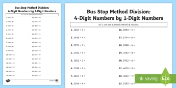 Bus Stop Method Formal Division of 4 Digit Numbers Activity Sheet - bus stop, method, formal division, 4 digit, numbers, worksheet