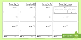 Bunny Hop Mixed Division Set 3  Differentiated Activity Sheets - Repeated Subtraction, Number Line, Divide, Share, Steps