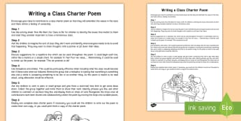 KS2 Writing a Class Charter Poem Guide - rules, behaviour, agreed rules, poetry, writing poems, collaborative writing, shared writing, counci