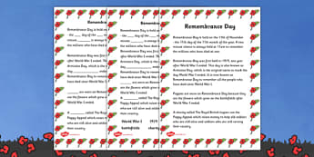 Remembrance Day Information and Fill in the Blank Worksheets - Remembrance Day Quiz Sheets, quiz sheet, quiz, sheets, worksheet, Remembrance Day, war, battle, world war, poppy, cross, army, fight, 11 November, Remembrance Sunday, heroes
