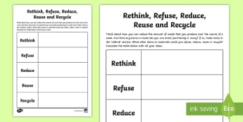 3-6 Rethink, Refuse, Reduce, Reuse, Recycle Activity Sheet - Plastic Bottles, Sustainability, Recycle, Reduce, Reuse, Refuse, Environment, worksheet