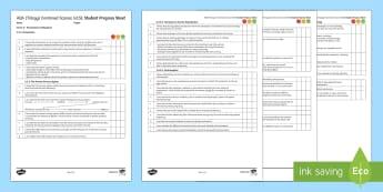 AQA Trilogy Unit 4.5 Homeostasis and Response Student Progress Sheet - Student Progress Sheets, AQA, RAG sheet, Unit 4.5 Homeostasis and Response, progress, checklist