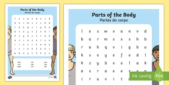 Parts of the Body Word Search English/Portuguese - human, science,adjacent consonants, eal, puzzle