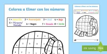 Colorear con números: Elefante colorido - Hoja de colorear con números. Elmer el elefante, colorear coincidiendo los números, colores y núm