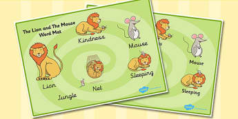 The Lion And The Mouse Word Mat - Lion, Mouse, Word, Mat, Animal