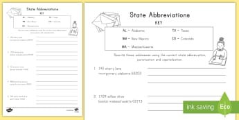 State Abbreviations in Addresses Activity Sheet - States and Capitals, USA States,worksheet, United States, US Capitals, USA Capitals, US Capital Citi