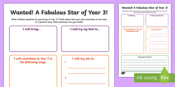 Wanted! A Fabulous Star for Year 3 Activity Sheet - first week back, new school year, KS2, qualities, all about me, worksheet