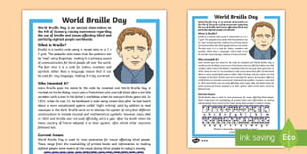 World Braille Day KS2 Differentiated Fact File - KS1/2 World Braille Day  (4.1.17), braille, national braille week, blind, visually impaired, RNIB