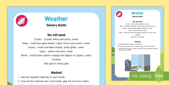 Weather Sensory Bottle - weather, sensory bottle, sensory, eyfs, early years