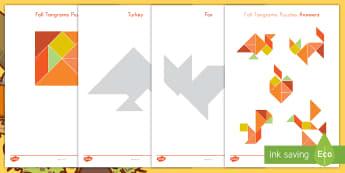 Fall Tangrams Puzzle - Fall, Tangrams, Seasons, Turkey, Thanksgiving, Bird, Apple, Squirrel, Autumn
