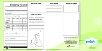 PlanIt Geography Y4 - What's It Like in Whitby Home Learning Tasks - geography, UK, compare, Whitby, contrasting, location, physical, human, coast, seaside, Yorkshire, county, map
