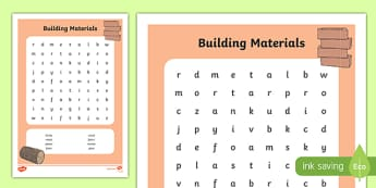 Building Materials Word Search