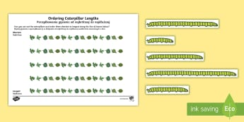 Ordering Caterpillar Lengths Activity Pack English/Polish - Ordering Caterpillar Lengths Activity Pack - activity pack, order, lenth, catapillar, catterpillar,