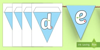 A to Z Tracing Letters Display Bunting - alphabet, handwriting, ABC, handwriting, visuals, tracing, writing, letter formation