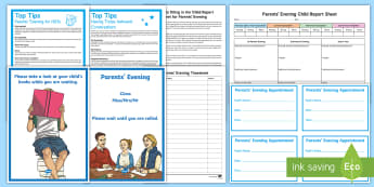 Parents' Evening Resource Pack - parents evening report sheet, parents evening notes sheet, parents evening timetable, parents evenin