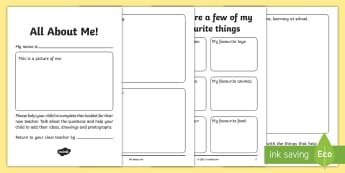 All about Me EYFS to Y1 Transition Booklet - moving up, new class, change, move, parents, home