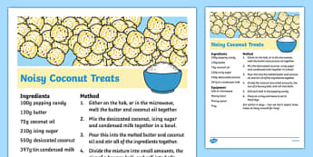 Noisy Coconut Treats Recipe