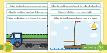 Tapiz de plastilina: El transporte - transporte, coche, camión, avión, globo aerostático, autobús, moto, motocicleta, vía, carretera