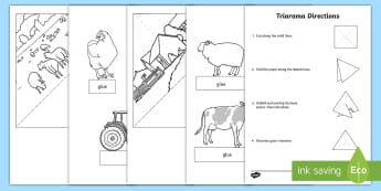 Farm Landscape Triarama Activity Sheet - manmade, natural features, rural, diorama, worksheet