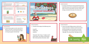 Christmas Combined Calculations Challenge Cards - maths, money, challenge cards, years 4-6, christmas