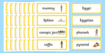 Ancient Egypt Word Cards - egypt, word cards, keyword, visual aid