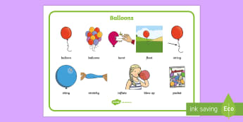 Balloons Word Mat - EYFS, Early Years, KS1, Key Stage 1, balloons, birthday, party, Literacy, English, writing, Reading.