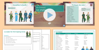 Au travail Lesson 1: Jobs French - jobs, work, employment, KS4, professions,French