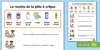 La recette de la pâte à crêpes Posters d'affichage - EYFS-KS1 La Chandeleur (candlemass),French
