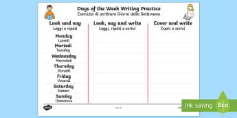 Days of the Week Writing Practice Activity Sheet English/Italian - practice, writing, days of the wek, days pf the week, days ofthe week, days of the weel, days of th
