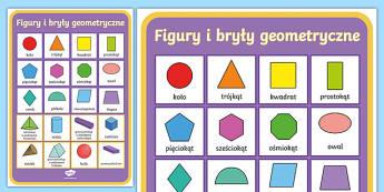 Plakat Figury i bryły geometryczne - bryła, bryły, figury, figura, geometryczne, geometryczna, plakat, gazetka, ścienna, ściana, pros