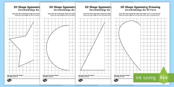 2D Shape Symmetry Drawing Activity English/German - maths, symmetry, drawing, EAL, German, English-German,,German-translation