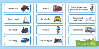 Transport-Themed Class Charter Cards - rules, behaviour, display, everyday life, teacher organisation