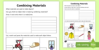 Combining Materials Matching Activity Sheet - ACSSU031, Australia chemical science, materials, properties of matter, Worksheet, mixing materials,