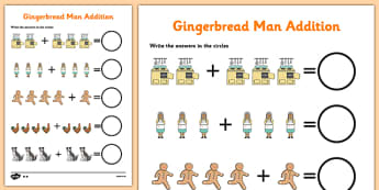 The Gingerbread Man Addition Sheet - addition, gingerbread man
