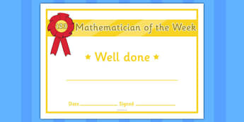 Mathematician of the Week Certificate - certificates, awards, mathematician