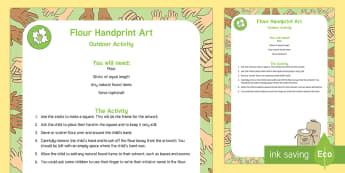 Flour Handprint Art Outdoor Activity - EYFS Parks and Gardens, playgrounds, forest school, outdoor learning, outdoor classroom, outside, wo