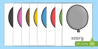 Nazwy kolorów Baloniki  - kolor, kolory, barwa, barwy, niebieski, zielony, czerwony, podstawowe, plastyka, technika, żółty,