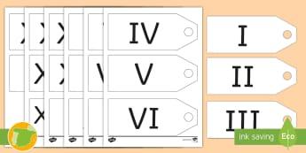 Etiquetas: Números romanos - 1-20 - romanos, historia, numeración, romana, mates, matemáticas, cifras, etiquetas, precio, juego de rol