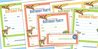 Dinosaur Themed Birthday Party Invitations - dinosaur, parties