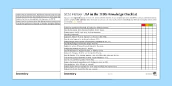 USA in 1930s Knowledge Checklist Activity Sheet - assessment for learning, revision, independence, roosevelt, great depression, new deal, supreme cour