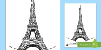 Eiffel Tower Colouring Page - France, French, Paris, Fun, Activity, Monument