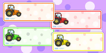 Tractor Drawer Peg Name Labels - tractor, name labels, draw and peg name labels, draw labels, peg labels, name tags, draw peg name labels, themed labels