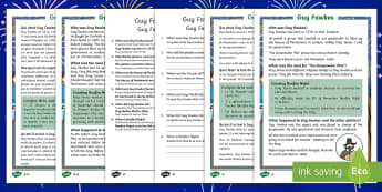 Guy Fawkes Differentiated Reading Comprehension Activity English/French - Bonfire Night, Fireworks Night, Guy Fawkes Night, fireworks, Gunpowder plot, 5th November, reading,