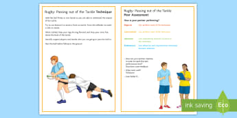 Rugby: Passing out of the Tackle Techniques Card - Rugby, KS3, KS4, Passing, passing out of the Tackle, technique, peer and self assessment