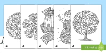 Winter-Themed Mindfulness Coloring Activity Sheets - snow, ice, snowflakes, cold, freeze, color, activity, creativity, art, Worksheets