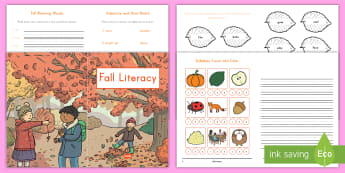 Fall Literacy Activity Booklet - Fall, Literacy, Nouns, Adjectives, Rhyming, Rhymes, Rhyming Words, Long A, Spelling Patterns, Langua