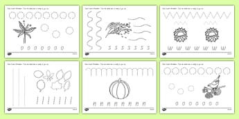 Autumn Themed Pencil Control Activity Sheets - nz, new zealand, pencil control worksheet, autumn, pencil control, autumn pencil control worksheet, autumn pencil control