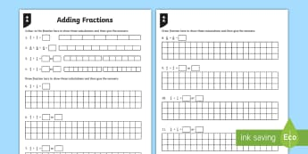 Adding Fractions Activity Sheet - fractions, adding fractions, add fractions, total, fraction bars, addition, same denominator, worksh